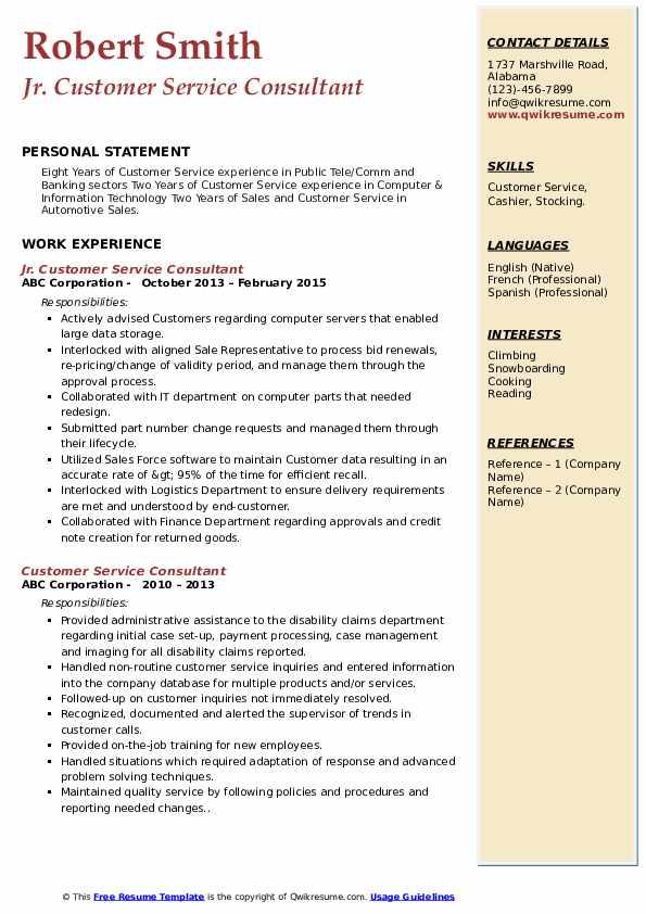 Jr. Customer Service Consultant Resume Model