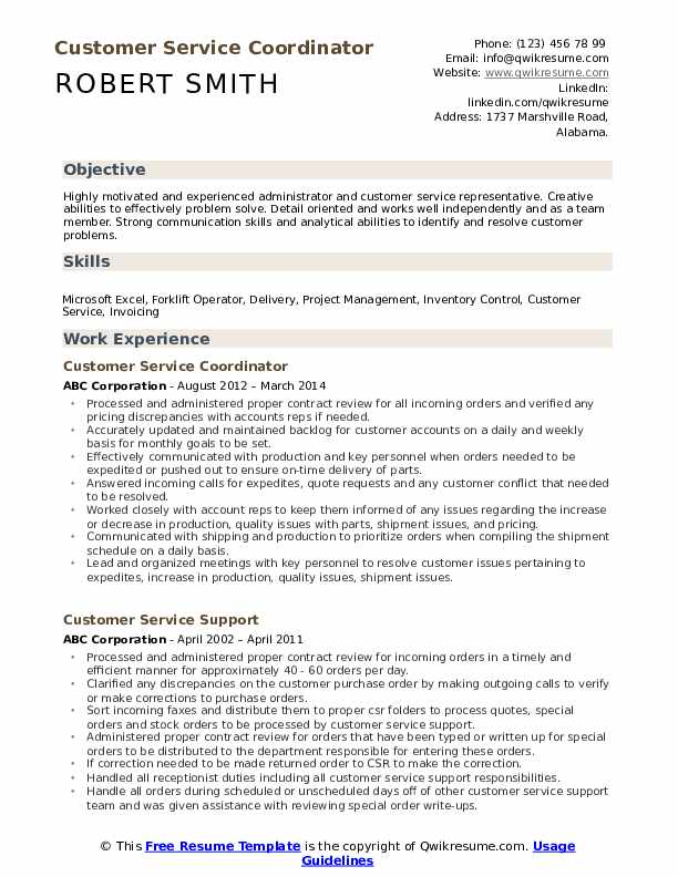 Customer Service Coordinator Resume Model