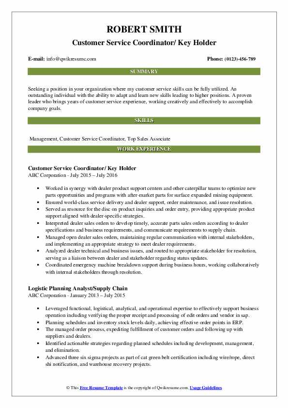Customer Service Coordinator/ Key Holder Resume Template