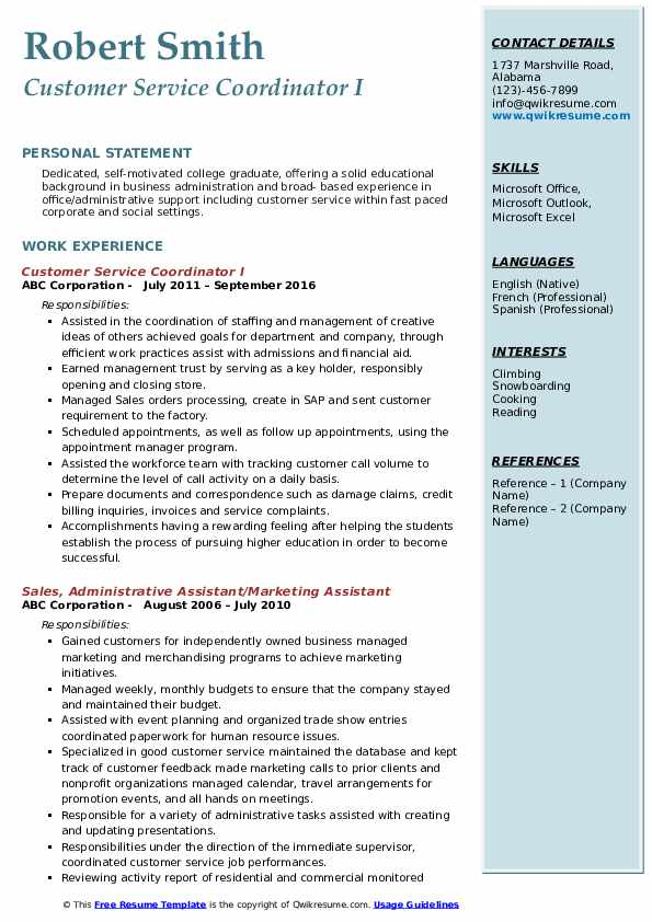 Customer Service Coordinator I Resume Template