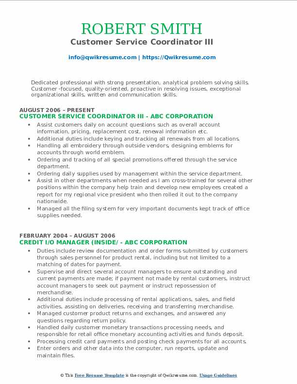 Customer Service Coordinator III Resume Template