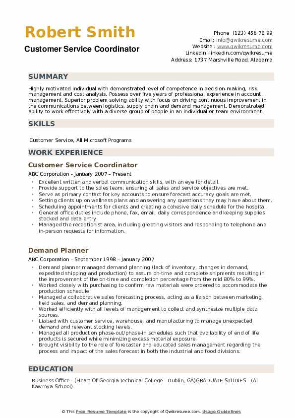 Customer Service Coordinator Resume example