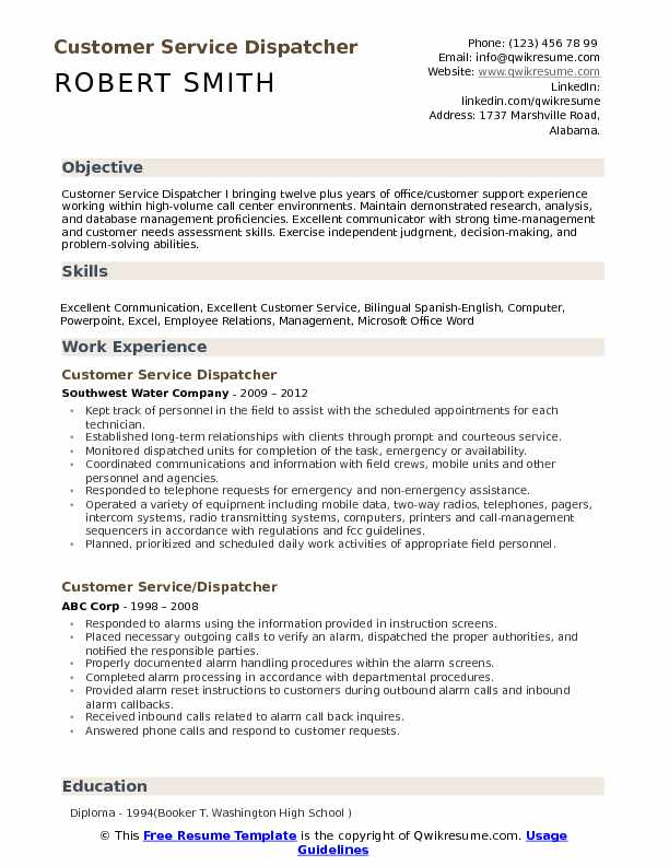 customer service dispatcher resume samples