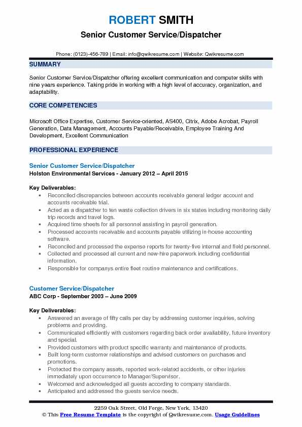 Senior Customer Service/Dispatcher Resume Template