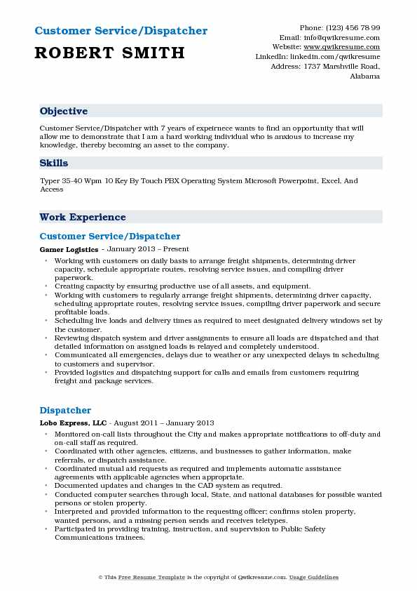Customer Service/Dispatcher Resume Sample