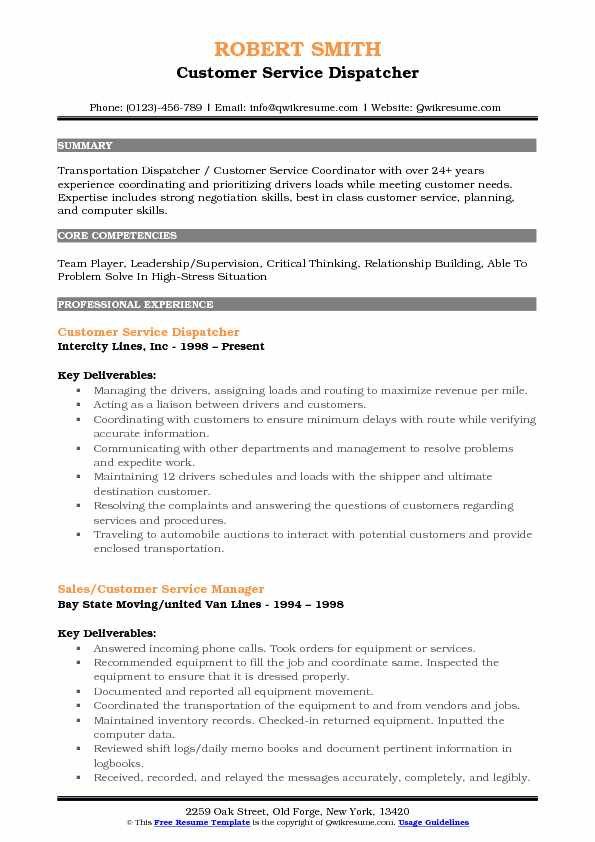 Customer Service Dispatcher Resume Format
