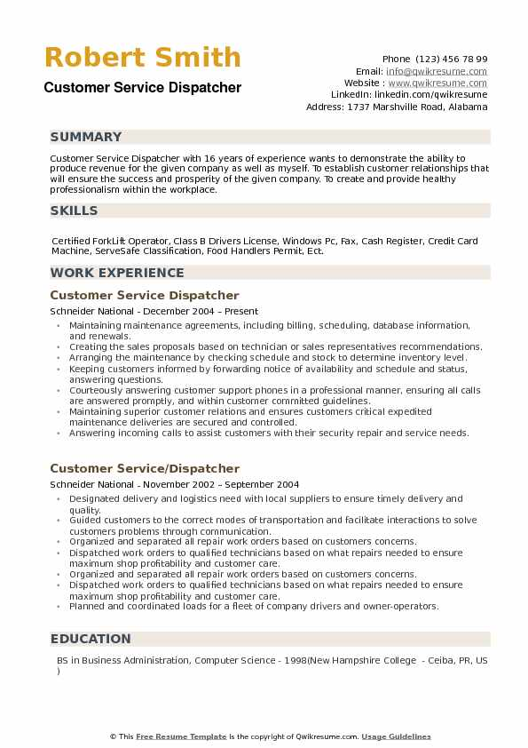 Customer Service Dispatcher Resume example
