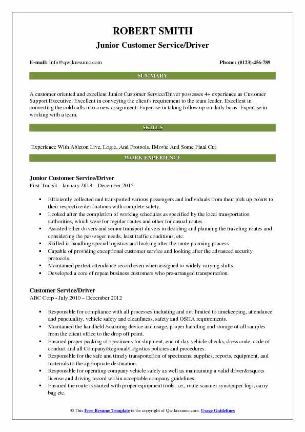 Junior Customer Service/Driver Resume Template