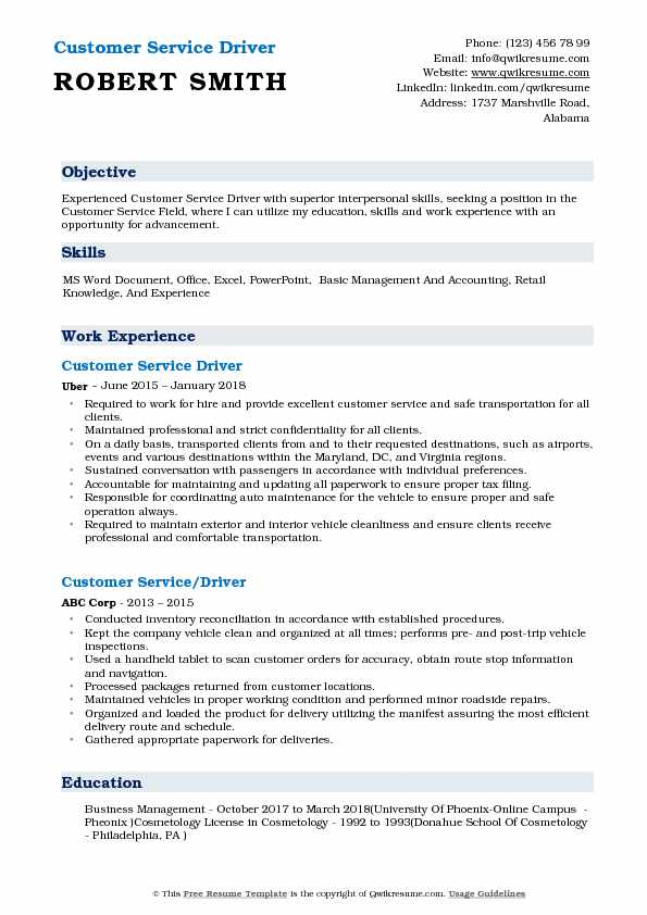 Customer Service Driver Resume Template