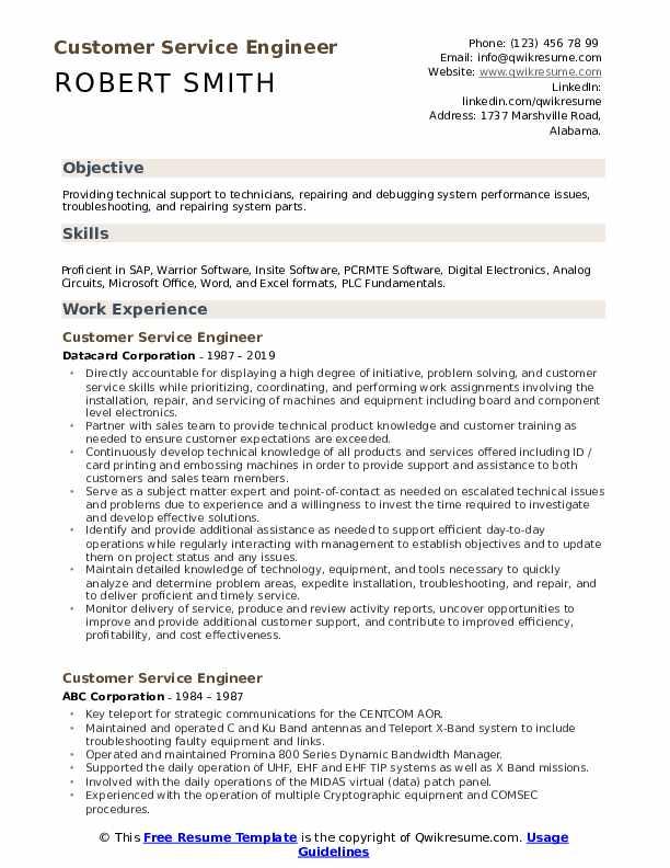 Customer Service Engineer Resume Format