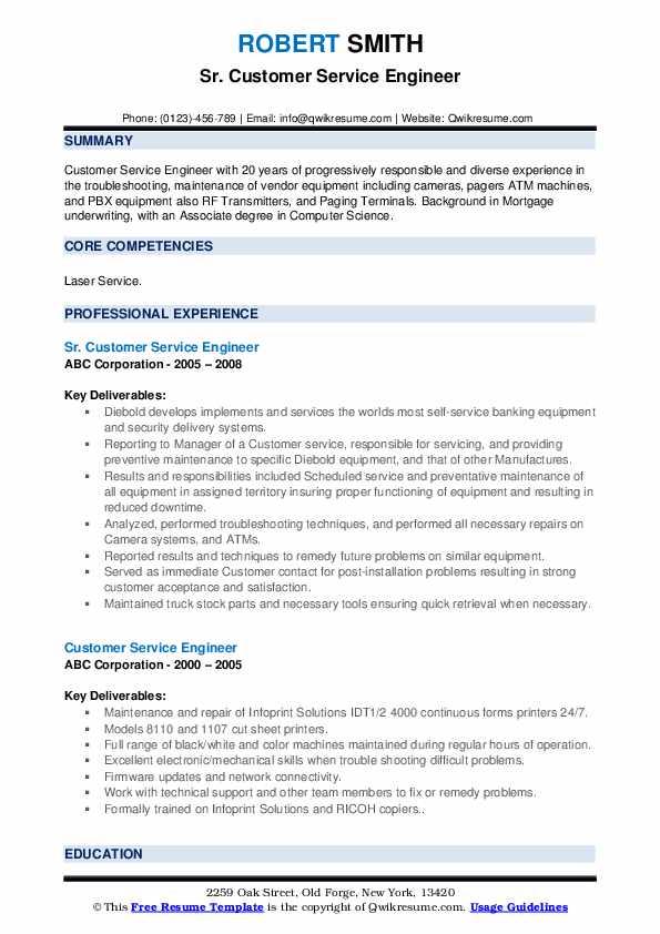 Sr. Customer Service Engineer Resume Model