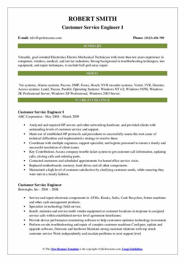 Customer Service Engineer I Resume Model