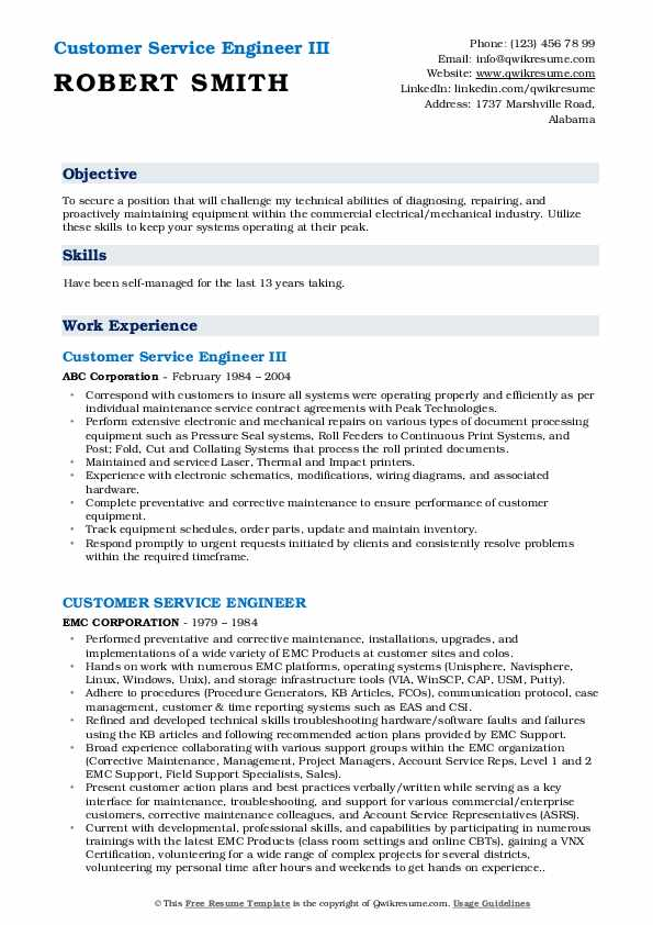 Customer Service Engineer III Resume Model