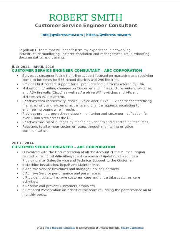 Customer Service Engineer Consultant Resume Format