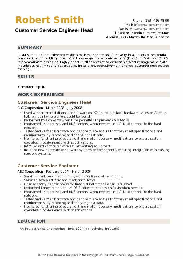 Customer Service Engineer Head Resume Template