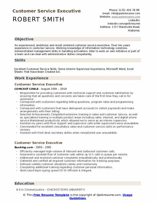 Customer Service Executive Resume Samples | QwikResume