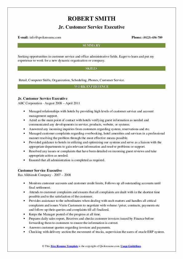 Jr. Customer Service Executive Resume Template