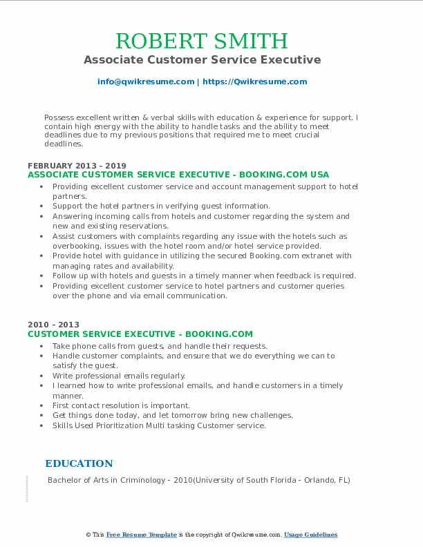 Associate Customer Service Executive Resume Example