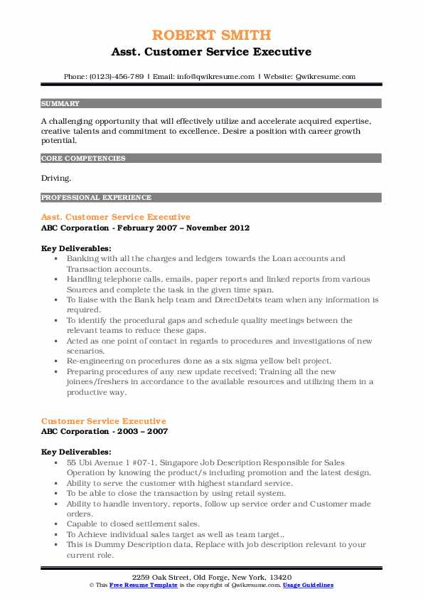 Asst. Customer Service Executive Resume Model