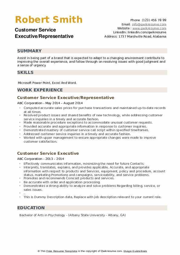 Customer Service Executive/Representative Resume Example
