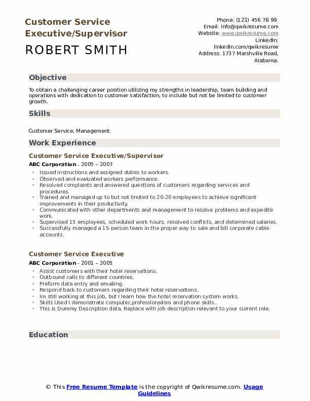 Customer Service Executive/Supervisor Resume Example