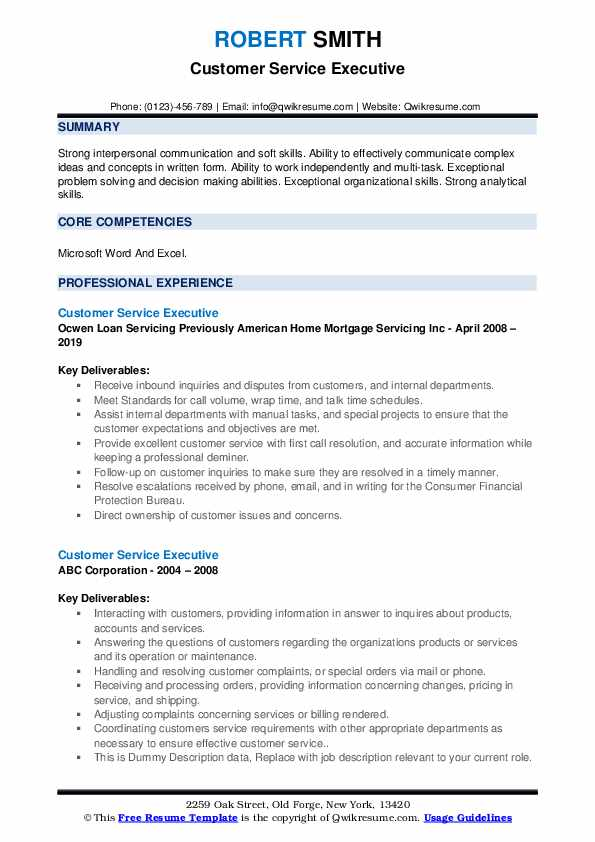 Customer Service Executive Resume example