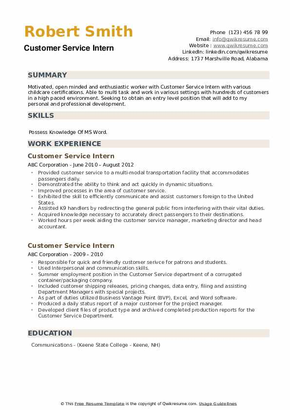 Customer Service Intern Resume example