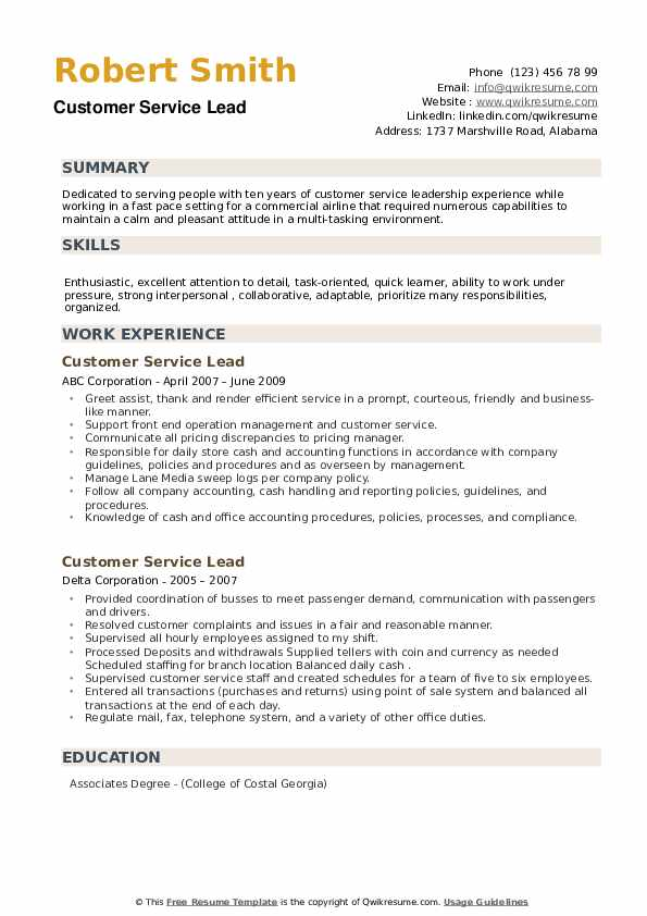 Customer Service Lead Resume example