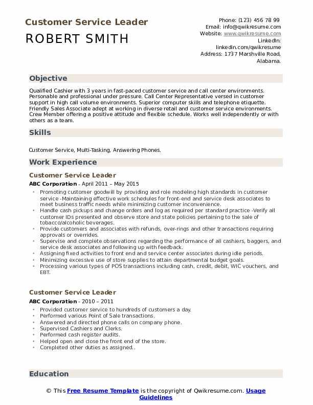Customer Service Leader Resume Template