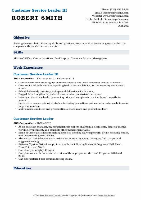 Customer Service Leader III Resume Template