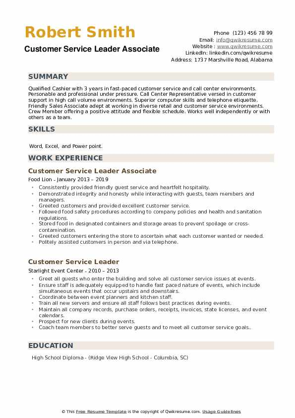 Customer Service Leader Associate Resume Example