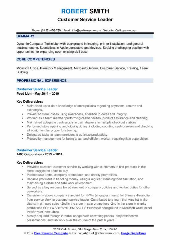 Customer Service Leader Resume example