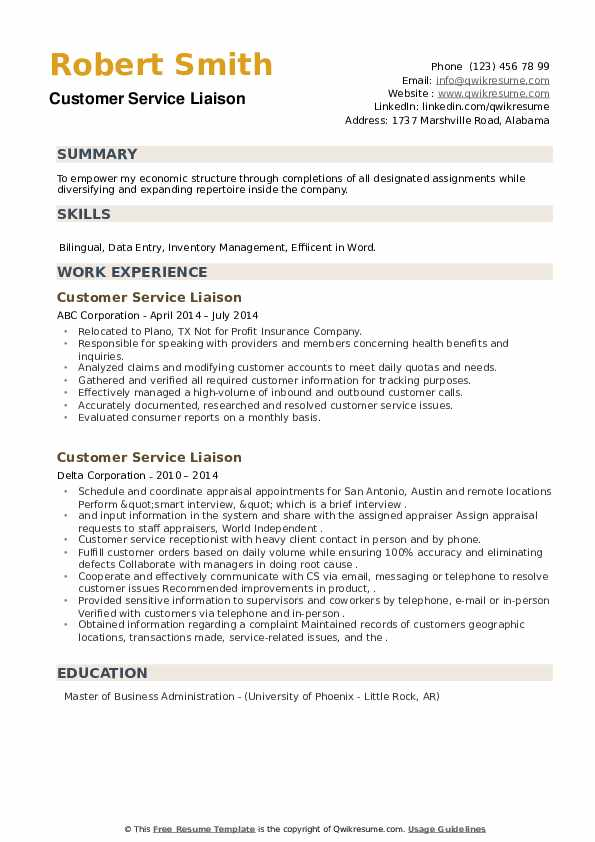 Customer Service Liaison Resume example