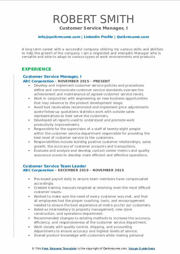 Customer Service Manager, I Resume Template