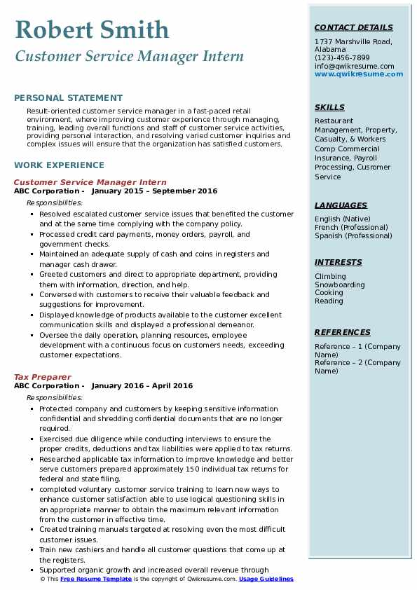 Customer Service Manager Intern Resume Format