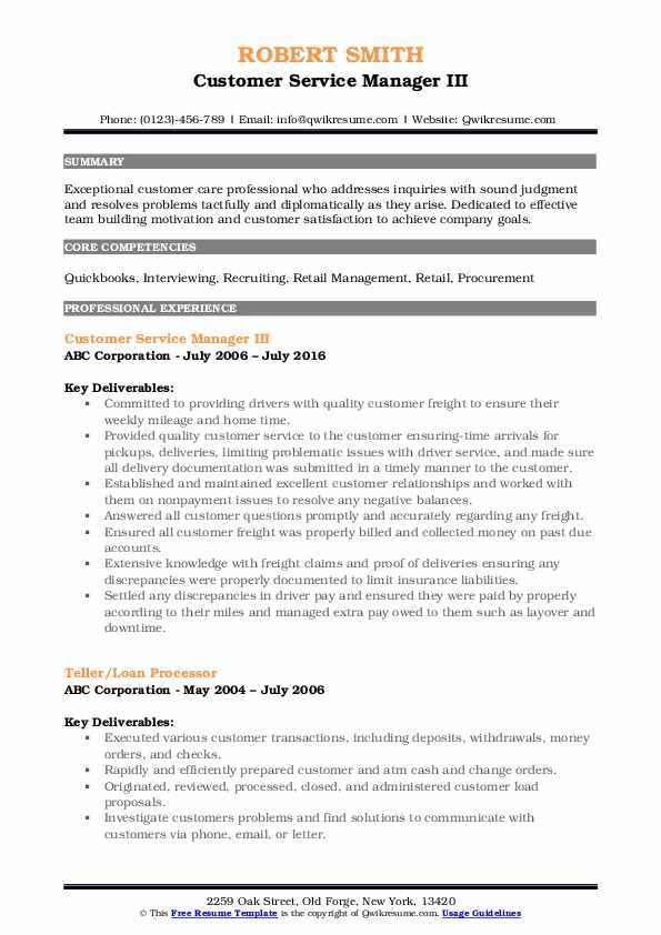 Customer Service Manager III Resume Sample