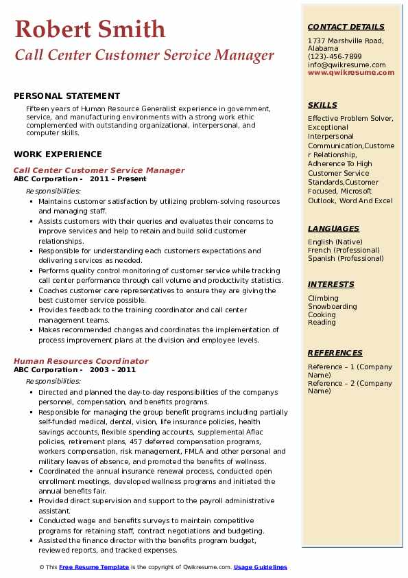 Call Center Customer Service Manager Resume Template