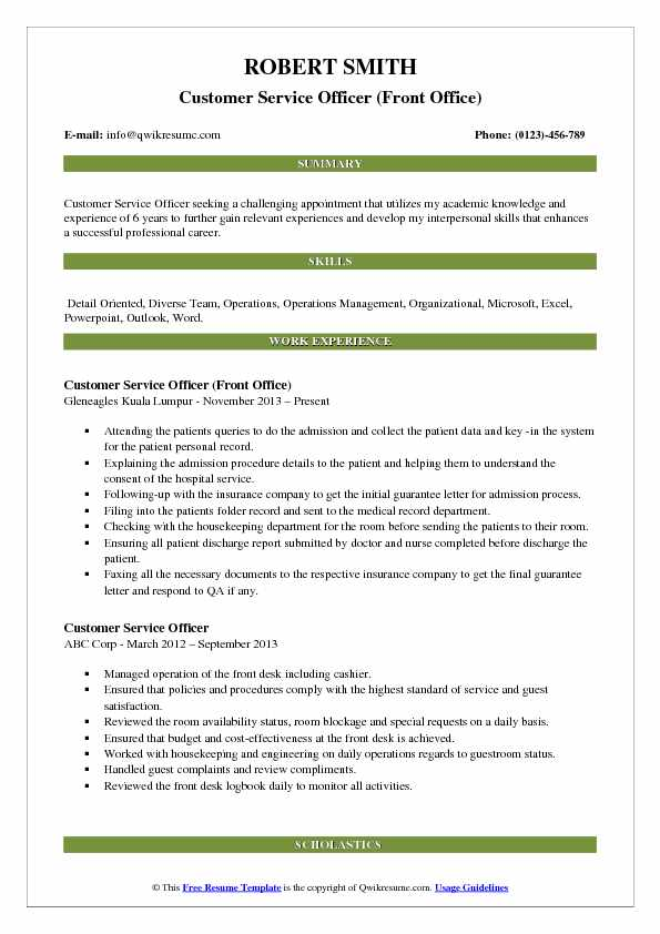 Customer Service Officer (Front Office) Resume Sample