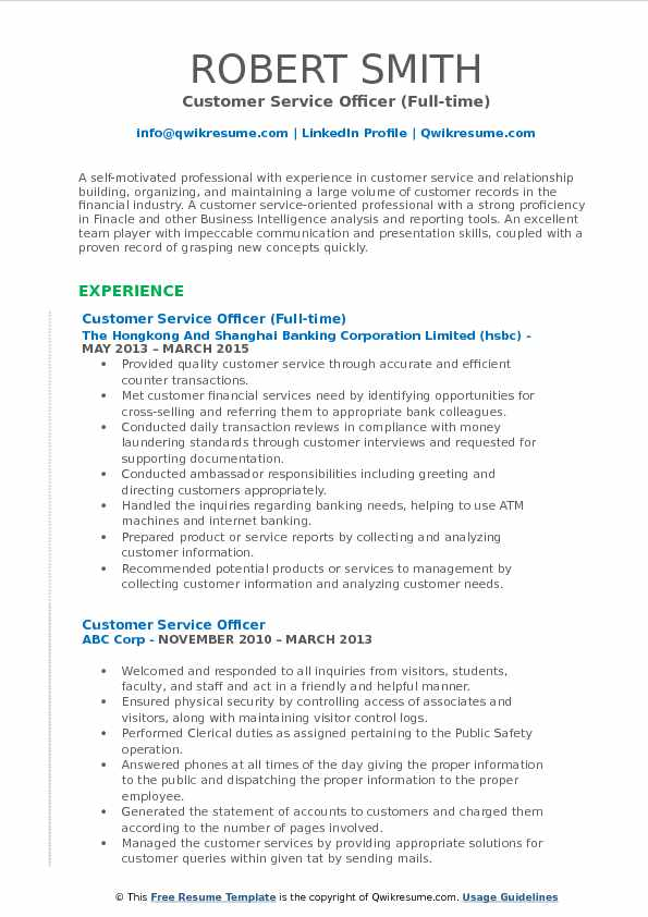 Customer Service Officer (Full-time) Resume Format