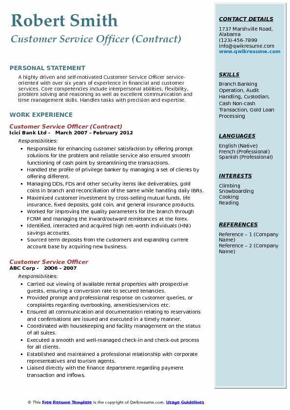 Customer Service Officer (Contract) Resume Format