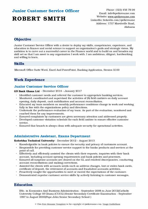 Junior Customer Service Officer Resume Example