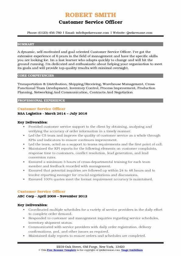 Customer Service Officer Resume Model