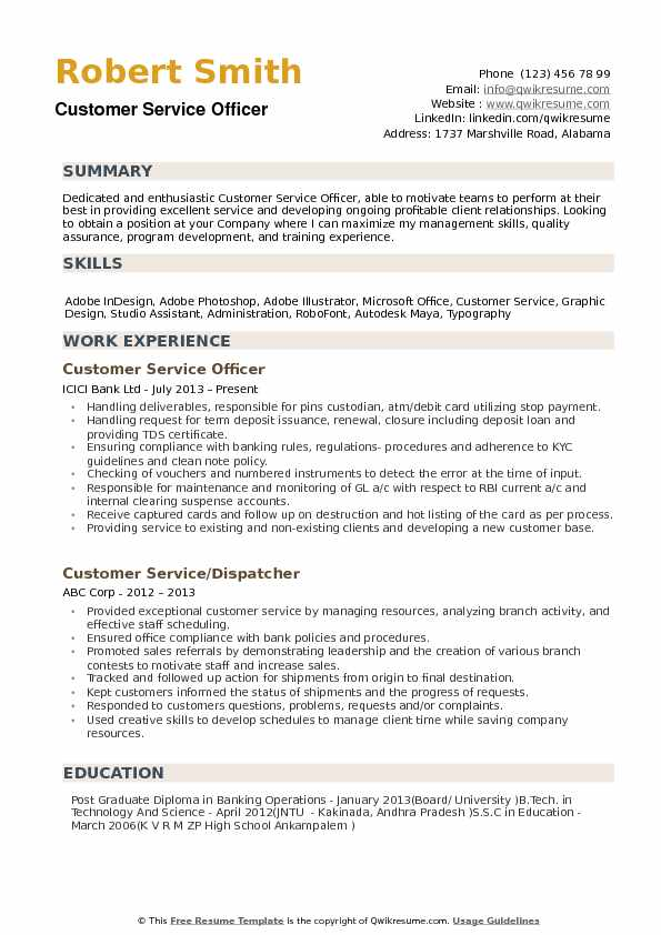 Customer Service Officer Resume example