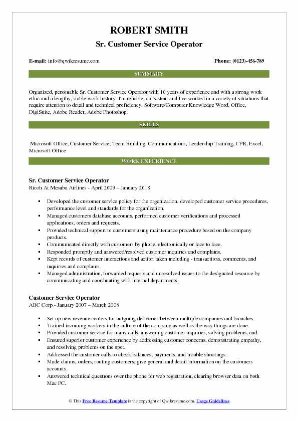 Sr. Customer Service Operator Resume Example