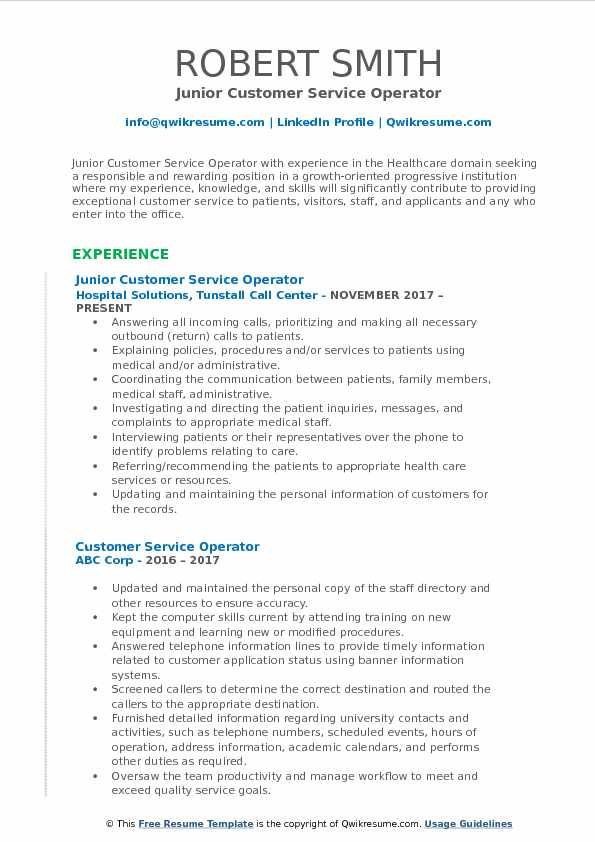 Junior Customer Service Operator Resume Model