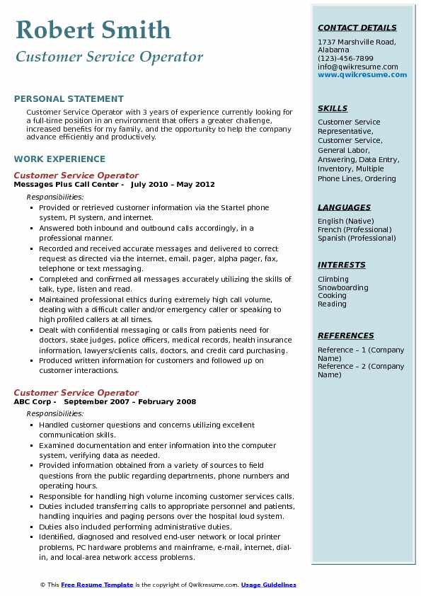Customer Service Operator Resume Sample