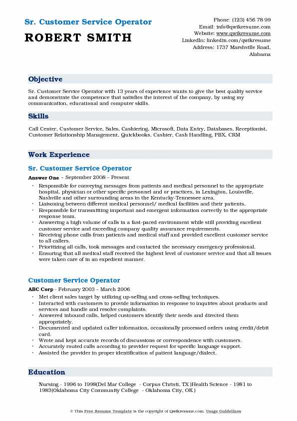 Sr. Customer Service Operator Resume Sample