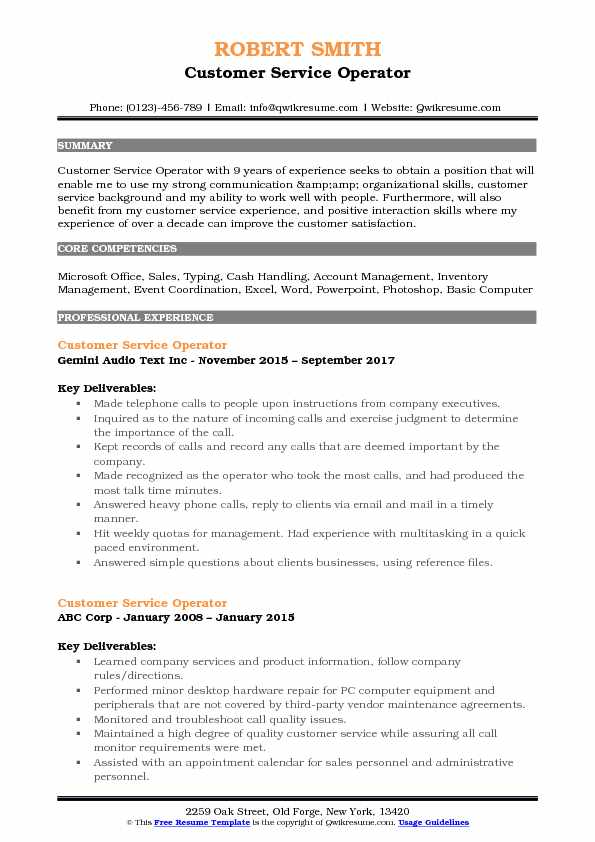 Customer Service Operator Resume Example