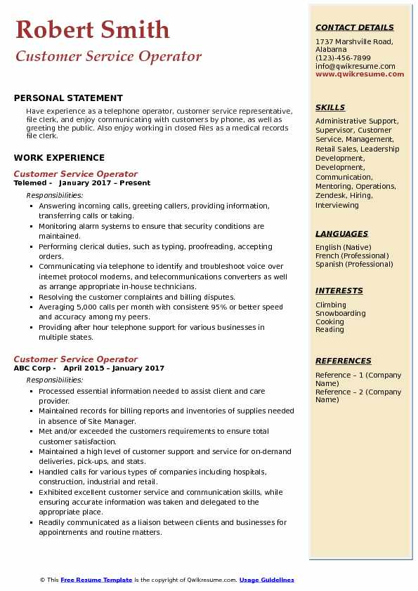Customer Service Operator Resume Model
