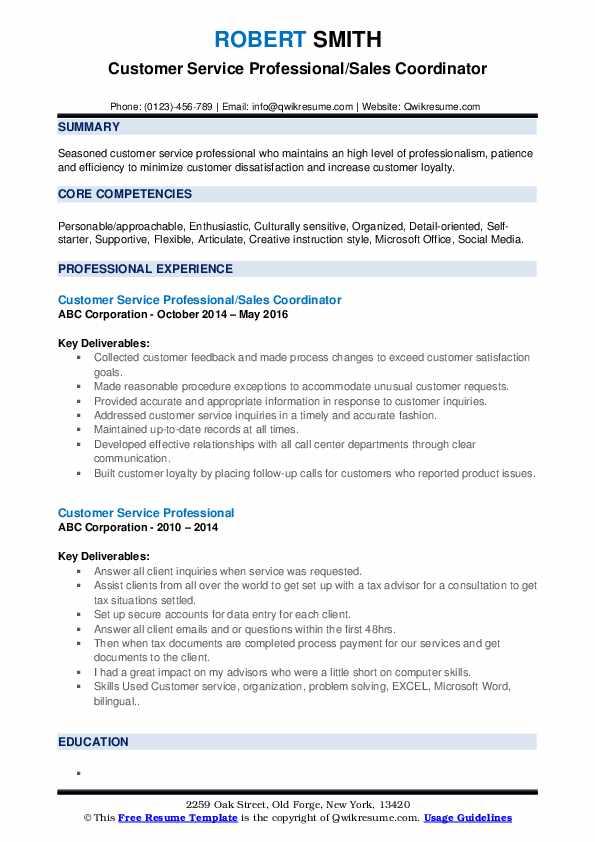 Customer Service Professional/Sales Coordinator Resume Example